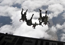 Canadian special operation regiment members conduct a freefall jump out of a U.S. Air Force C-17